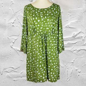 Boden Long Sleeve Green Scoop Neck Dress Sz 14